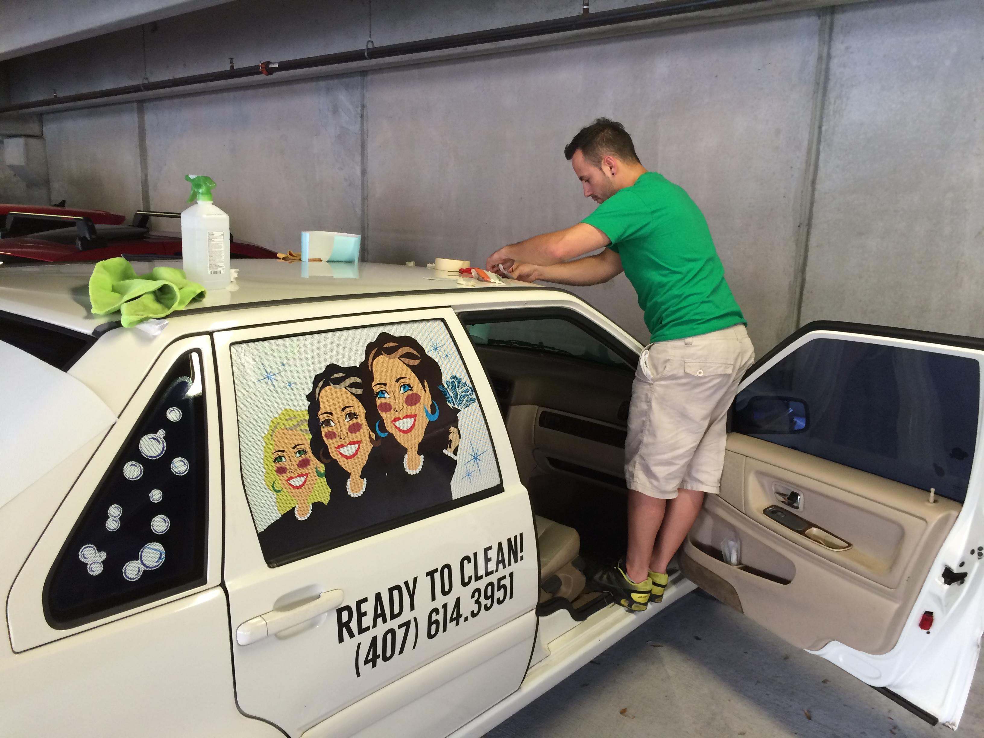 Vehicle graphics for contractors in florida orlando for Window installation orlando