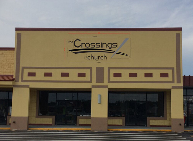 The Crossings Church Opens Big With Pylon Sign Facing And Exterior Building Sign